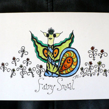 Alternative / Fantasy - Orange & Green Fairy Snail Blank Greeting Card w / envelope - Recycled Paper - IntricateKnot