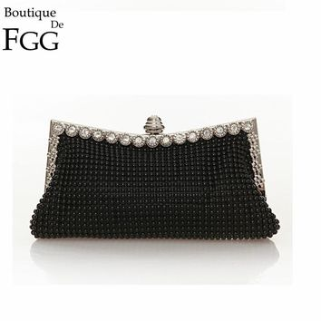 New Arrivals Ladies Aluminum Rhinestone Banquet Handbag Metal Frame Gold Plated Crystal Bag Women Bridal Clutches Wedding Purse