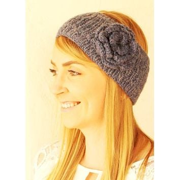 Alpaca Flower Knit Ear Warmer Head Band
