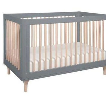 LMFON babyletto lolly 3 in 1 convertible crib with toddler bed conversion kit gray washed n