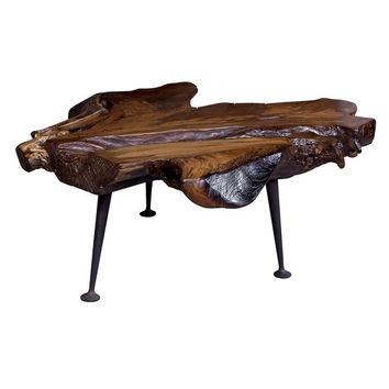 Natural Teak Coffee Table With Cast Iron Legs - Moe's Home Collection