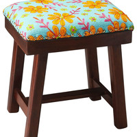 Claudia Transitional Rectangular Upholstered Stool Embroided