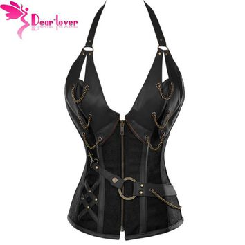Dear Lover bustiers & corsets corselet Women Brown Brocade Steampunk Corset Top With G-string LC5313  plus XXL sexy lingerie set