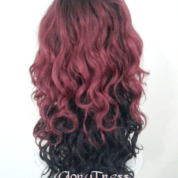 ON SALE // Long Wavy Lace Front Wig, Ombre Black and Burgundy Wig, Side Swoop Bangs // ENVY (Free Shipping)