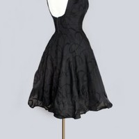 1950's Little Black Tea Length Backless Dress - M LITTLE BLACK DRESSES - AUDREY HEPBURN STYLE 60's, 50'S :