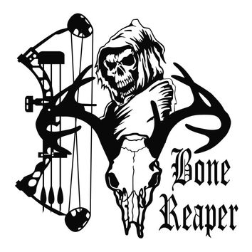 Grim Reaper Bone Reaper Bow Hunter Deer Skull Die Cut Vinyl Decal Sticker