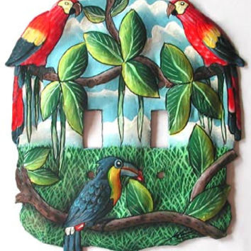 Switchplate, Tropical Parrot Design Light Switch Plate Cover - Hand Painted Metal Art, Handcrafted in Haiti - Light Switch Cover - S-1012-2