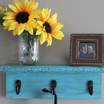 Decorative wall shelf, key holder, turquoise wall decor