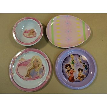 Trudeau Kid Plates Bowl Lot of Four Multicolor Barbie Tinkerbell Easter Plastic -- Used