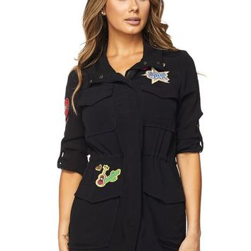 Patch Safari Style Black Jacket