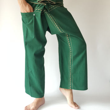 Dark Green Handmade Thai Fisherman Pants Wide Leg pants, Wrap pants, Unisex pants (DG008)