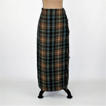 Winter Skirt Women Large Maxi Skirt Long Wrap Skirt Wool Plaid Skirt Blue Brown Blanket Skirt with Fringe Vintage Clothing Womens Clothing