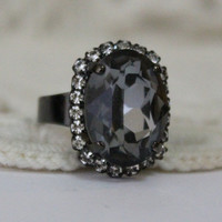 Silver Night Victorian Inspired, Gunmetal, Adjustable Swarovski Crystal Ring, Grey, Halo Ring, Cocktail Ring