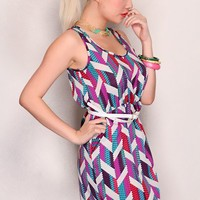 Magenta Multi Printed Design V Neck Sleeveless Chic Dress