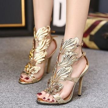 ONETOW Favorite luxury metal wings, with super high heel sandals