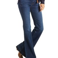 Dark Wash Denim Released Hem Flare Jeans by Charlotte Russe