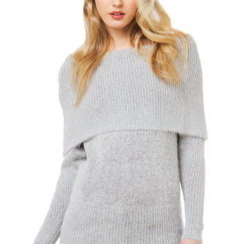 Off The Shoulder Sweater Top - Grey
