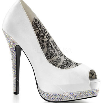 Bella Peep Toe Pumps in White