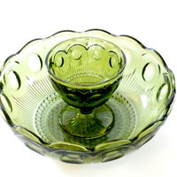 vintage green depression glass chip and dip bowl~ antique retro hors d'oeuvres appetizer serving bowl green glass