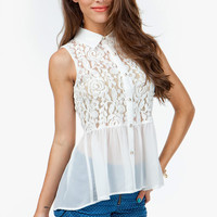 A'GACI LACE & CHIFFON SLEEVELESS PEPLUM SHIRT - TOPS