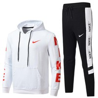 NIKE 2018 autumn and winter new men's sportswear two-piece suit White