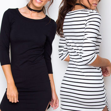 Sandy Basic Dress Set - Black & White Striped