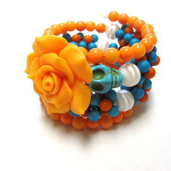 Day of the Dead Bracelet Sugar Skull Jewelry Wrap Cuff Peachy Orange Turquoise Blue White