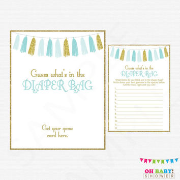 Blue and Gold Baby Shower Games, Guess What's in the Diaper Bag, Boy Baby Shower Printables, Diaper Bag Game, Instant Download Tassels TASBG