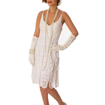 1920s Inspired Ivory Silk Crochet Lace Dress