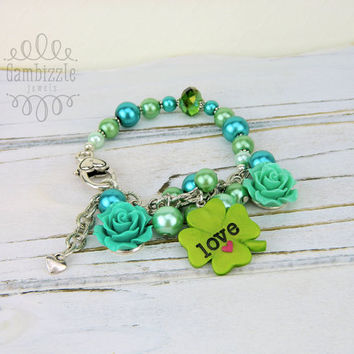 St. Patrick's Day Bracelet, St. Patrick's Day charms, st patty's day jewelry, st patricks day accessories, clover charm, lucky charm
