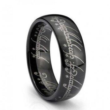 7mm Black IP One Elvish Script Ring Tungsten Carbide Unisex Wedding Ring Band