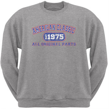 Classic American 1975 Funny Light Heather Grey Adult Sweatshirt