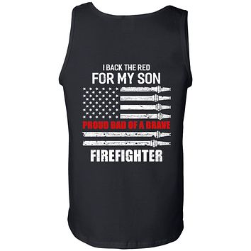 I Back The Red For My Son Proud Dad Firefighter Black Tank Tops