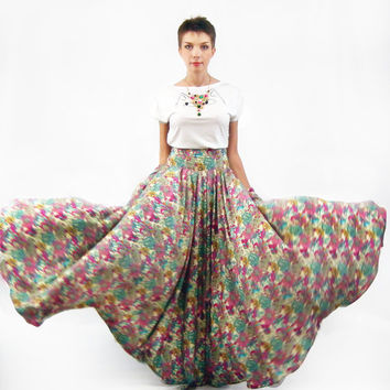 Maxi Skirt , Long Skirt, Floor length skirt, Floral skirt, Full skirt, Circle skirt, High Waist Skirt, Prom Dress, Bridesmaid Skirt