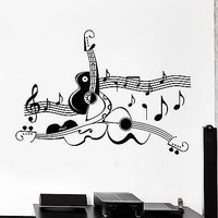 Wall Sticker Guitar Sheet Music Cool Living Room Decor Vinyl Decal Unique Gift (ig1228)