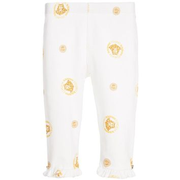 Versace Baby Girls Ivory & Gold Medusa Leggings