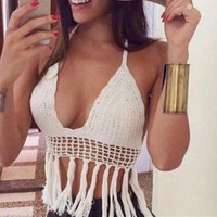 White Handmade Knitted Crochet Bikini Bra Crop Top