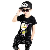 Boys clothes summer kids hip hop clothing 100% Cotton t-shirt+boys shorts 2pcs characters boy clothes for 3 5 6 8 10 12 years