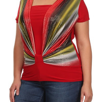 Wrapped Striped Cowl Neck Top - Red - Plus Size - 1X - 2X - 3X