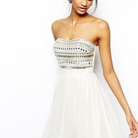 Lipsy VIP Embellished Bandeau Prom Dress - Cream