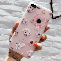 Unique Floral Case for iPhone X 8 7 6S Plus &Gift Box