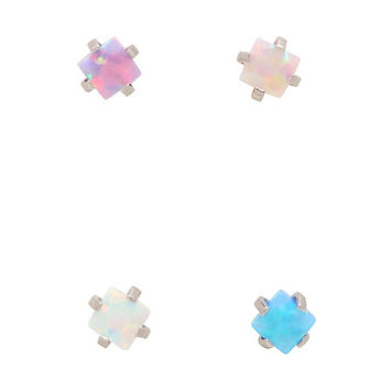 Diamond Shaped Opal Nose Stud 4 Pack