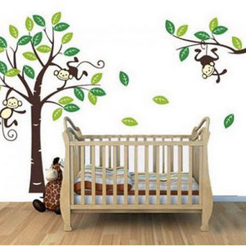 HUGE Baby Boy Monkey Wall Decals, Monkey Decal, Childrens Decals, DIY, Wall Stickers