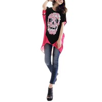 Allegra K Women Sheer Back Batwing Sugar Skull T Shirt Loose High Low Tops