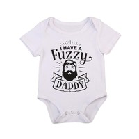 Fuzzy Wuzzy Daddy Graphic Short Sleeved Onesuit for Newborn