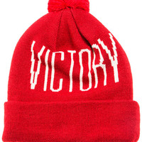 The Victory Pom Beanie in Red