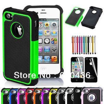 Pen+Phone Case for iPhone 4 4S Rugged Rubber Matte Hard Silicone Case Cover Screen Protector Free Shipping as Gift