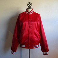 Vintage 80s Red Satin Jacket USA Sport White Chalk Line 1980s Mens Casual Snap Windbreaker Medium