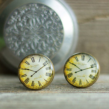 Old Clock Cuff Links, Vintage Watch Cuff Links, Steampunk Cuff Links, Brass Cuff Links