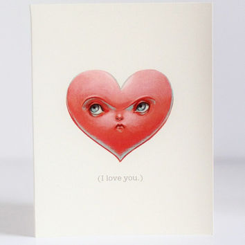 Mister Crabby Heart - The Anti-Valentine - 3 blank notecards- by Mab Graves